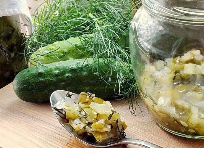 Огурцы резаные консервированные на зиму – с луком, острые, по-корейски