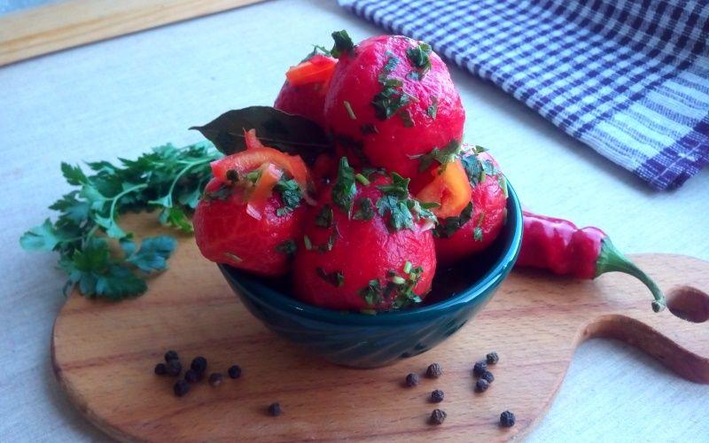 Маринованные помидоры без шкурки за сутки