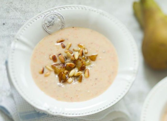 Суп с индейкой и кедровыми орешками