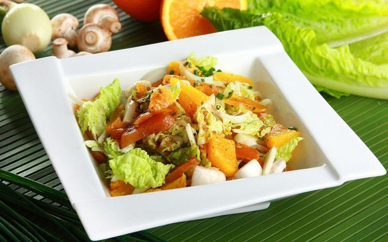 Грибной салат с апельсинами