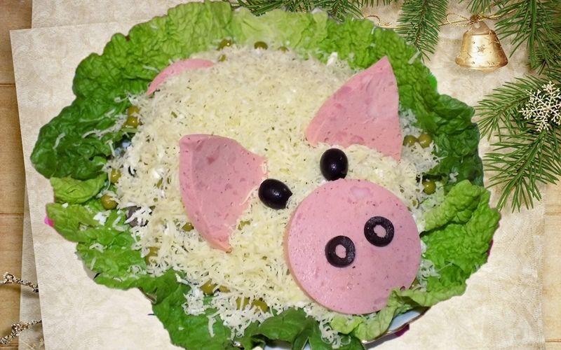 Салат на Новый год 2019 в виде свиньи