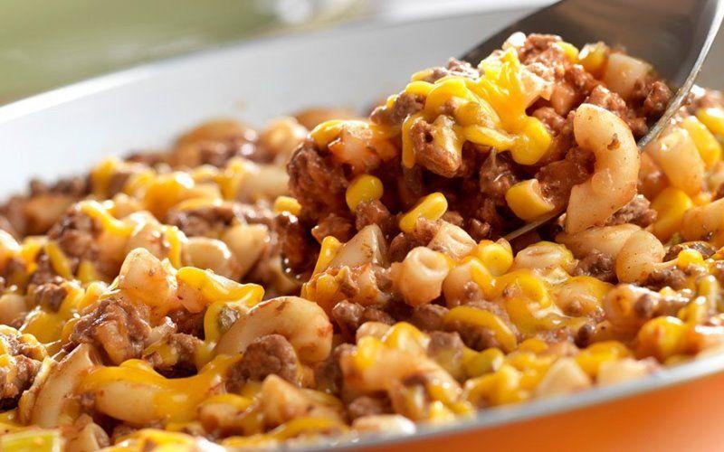 Макароны с кукурузой и мясным фаршем