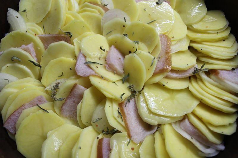 Картофель в духовке с ветчиной