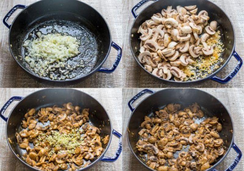 Макароны с курицей и грибами - рецепт