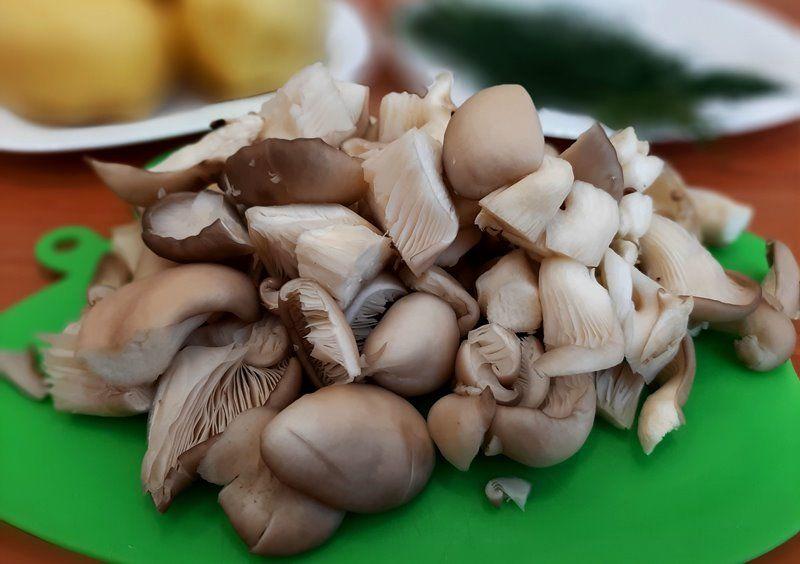 Картофель с грибами, тушеный в сметане