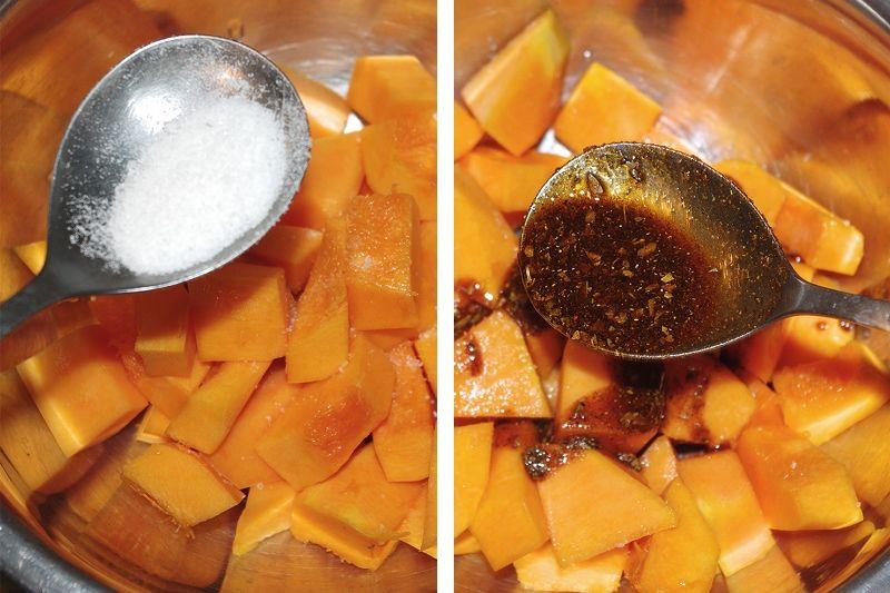 Запеченная в духовке тыква с помидорами и брынзой 2