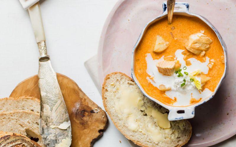 тыквенный рыбный суп со сливками